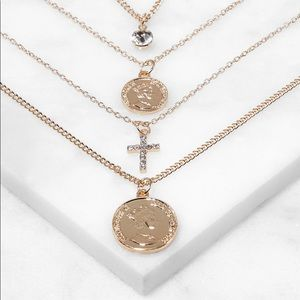 Layered Coin Charm Necklace with Stud Earrings set
